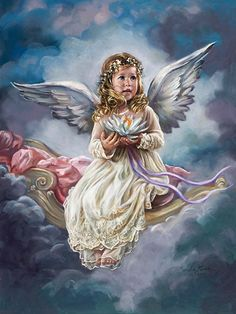 Angel - {By: Sandra Kuck - Artist} July * Water Lily - Angel Art Baby Engel, I Believe In Angels, Ange Demon, Angel Pictures, Angels Among Us, New York Art, Angels In Heaven, Guardian Angels, Angel Art