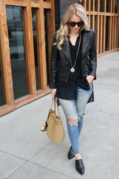 How to Wear Long Shirts w. Leather Jacket and Jeans - AGL Black Mule Slides. All Saints black leather jacket with Rag & Bone distressed skinny jeans. A great fall outfit for women, the city street style is perfect for every style. Office Outfits, Fall Outfits, Casual Outfits, Summer Outfits, Fashion Outfits, Womens Fashion, Black Outfits, Work Outfits, Fashion Tips