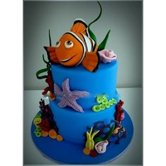 Finding Nemo birthday cake, exclusively designd by EliteCakeDesigns Sydney. Blow your guests away with this unique birthday cake design! Fondant Cakes, Cupcake Cakes, Dory Cake, Finding Nemo Cake, Sea Cakes, Character Cakes, Novelty Cakes, Fancy Cakes, Celebration Cakes