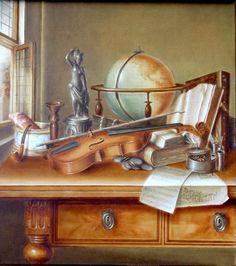 Aleksandra Zając, oil painting, Martwa natura z globusem i skrzypcami