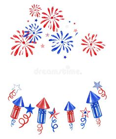 July Fourth banner with fireworks and salutes on white background. Festive independence day illustration ,white, red and blue. Illustration about festive, holiday, background - 150761708 Patriotic Crafts, Patriotic Party, July Crafts, July Background, Fireworks Background, Bullet Journal Notebook, Bullet Journal Ideas Pages, Bullet Journals, Independence Day July 4