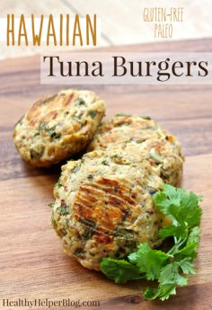 Hawaiian Tuna Burgers from Healthy Helper Blog...gluten-free, paleo burgers with a tropical twist! Low in fat and high in protein! The perfect easy weeknight meal! [clean eating, seafood, tuna, fish, burgers, sweet, savory, low-carb, healthy food, healthy recipe, healthy eating, low calorie, meal plan, recipes]