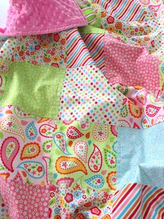 Baby Girl Patchwork Blanket Baby Girl Quilt by SweetBabyBurpies