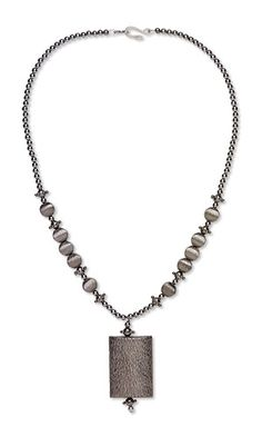 Single-Strand Necklace with Gunmetal-Finished Copper and Gunmetal-Plated Brass, Steel and Copper Beads