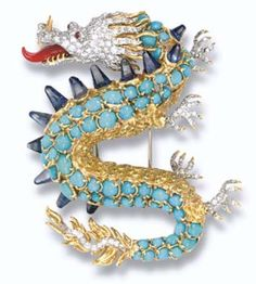 Dragon brooch by Verdura. via Christie's