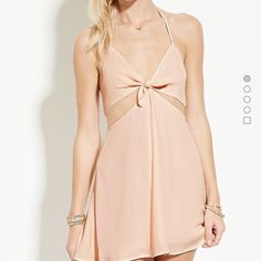 Dress Self tie pink nude halter dress Dresses Backless