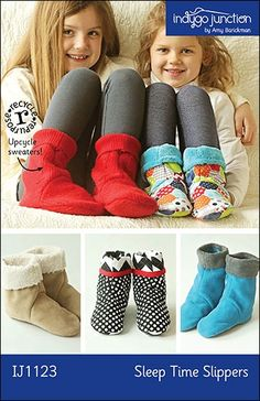 Sleep Time Slippers Pattern: From Amy Barickman of Indygo Junction come these comfy slipper socks! Upcycle sweaters into these simple childrens slippers. This pattern features a sole insert pocket. Fleece Projects, Diy Sewing Projects, Sewing Crafts, Sewing Ideas, Fleece Crafts, Sewing Hacks, Sewing Tutorials, Craft Projects, Kids Slippers
