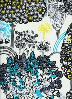 trees in grove in white, lemon grove by alice kennedy, timeless treasures, 1 yard $8.50, etsy shop fabric closet  - fun graphic, wonder if have other colors in collection