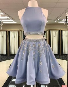 Cute blue two pieces short prom dress, homecoming dress,BD0106