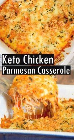 Keto Chicken Parmesan Casserole #keto #lowcarb #dinner