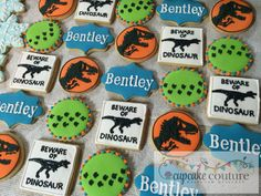Jurassic Park dinosaur birthday cookies by Cupcake Couture Carthage