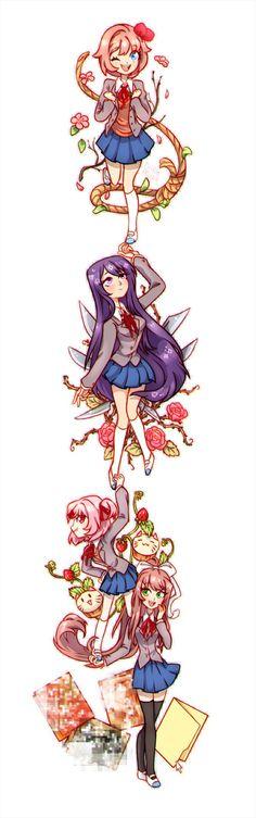 Doki doki  literature club!! yuri, natsuki, sayori, Monica