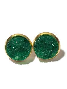 Forest Green Druzy studs, druzy studs, Emerald Green, silver, gold, drusy studs, earrings, DBKL106