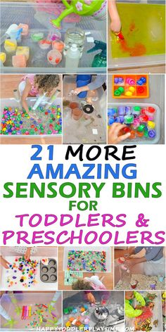 Here are 21 MORE amazing SENSORY BINS for little ones. Learn and play with all these sensory bin ideas from bubbles to oobleck to yarn and more! Toddler Sensory Bins, Toddler Learning Activities, Toddler Fun, Sensory Activities, Infant Activities, Sensory Play, Toddler Preschool, Toddler Snacks, Preschool Kindergarten