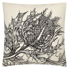 Buy Timorous Beasties for John Lewis Thistle Cushion, White Online at johnlewis.com
