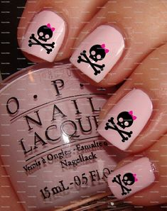 skull nail design - Google Search