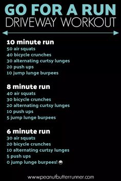 Go For A Run Driveway Workout. A workout combining running and bodyweight exercises. #workout #bodyweightworkout #runningworkout