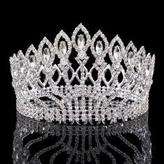 Vintage Grand Strass De Bal Princesse Couronne Cristal Mariée fleur Diadème De Mariée Tête Bijoux Pageant De Mariage Cheveux Accessoires