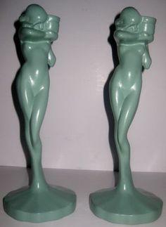 Frankart greenie metal candlesticks art deco nudes #artdeco #Frankart #petiesbest