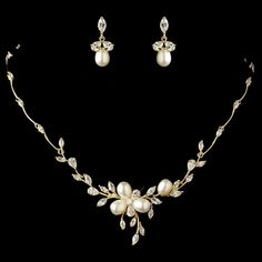 Gold Plated Freshwater Pearl and CZ Wedding Jewelry Set - Affordable Elegance Bridal -
