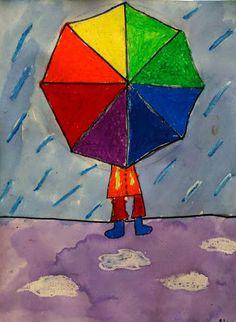 Mr. O's Art Room: 1st Grade Color Wheel Umbrellas Classroom Art Projects, School Art Projects, Art Classroom, Grade 1 Art, First Grade Art, Jr Art, Ecole Art, Spring Art, Art Lessons Elementary