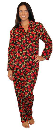 PajamaMania Rose Black Flannel Pajama Flannel Pajamas, High Neck Dress, Rose, Places, Dresses, Fashion, Turtleneck Dress, Vestidos, Moda