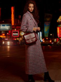 Coat MSGM available at Simons, Bags Hermes, Shoes Gucci available at Saks Fifth Avenue
