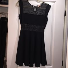 Topshop Dress Sleeveless, black adorable dress with sheer, worn once, perfect condition, Topshop Dresses Mini