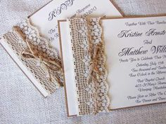 lace and burlap invitations, tiffany blue color paper under the white instead of the kraft paper would  be beautiful