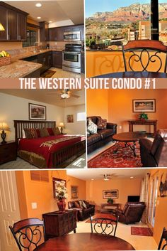 Comfortable, large one bedroom condo decorated in warm colors with a mix of western art and photography in every room.  The Western Suite has beautiful Sedona views from the living areas and the private patio, and is on the ground floor.  There is a large bath with a glass enclosed shower and granite countertops.   This suite is near large landscaped  patios where you will enjoy the barbeques the bocce court and fire pit.