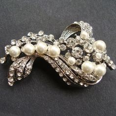 Vintage Style Bridal Brooch, Pearl & Rhinestone Wedding Pin Brooch, Art Deco Style Brooch, Old Hollywood, Bridal Jewelry,  BETTE. $62.00, via Etsy.
