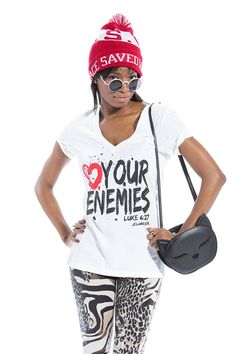 """Love Your Enemies White V-Neck. This is the second version and our very first t shirt.Based on Luke 6:27 """"But I tell you who hear me: Love your enemies, do good to those who hate you"""". This is a tough one for many but God commands us to love our enemies as He does. #loveyourenemies"""
