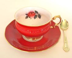 Vintage Shiny Red and Gold Gilt Teacup and Saucer Set | Elizabethan China England