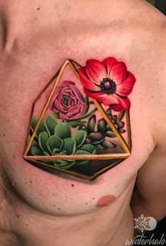 Realistic Red Anemone flower and Succulents in a geometric terrarium tattoo By Christopher Hedlund - Winterhalo NYC Tattoo Artist tattoos best art illustration illustrator realistic realism drawing painting colorful bright pretty beautiful color New York City Chris floral flowers Red Anemone, Anemone Flower, Floral Flowers, Austin Tattoo Artists, Bee Tattoo, Illustration Art, Shapes, Tattoos, Terrarium