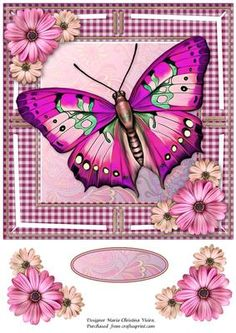 Jumbo Butterfly and Dasies Pink 8x8 on Craftsuprint designed by Maria Christina Vieira - Jumbo Butterfly ,Large Butterfly card front approx, 8x8 inches.Comes with embellishments and one blank label. - Now available for download!