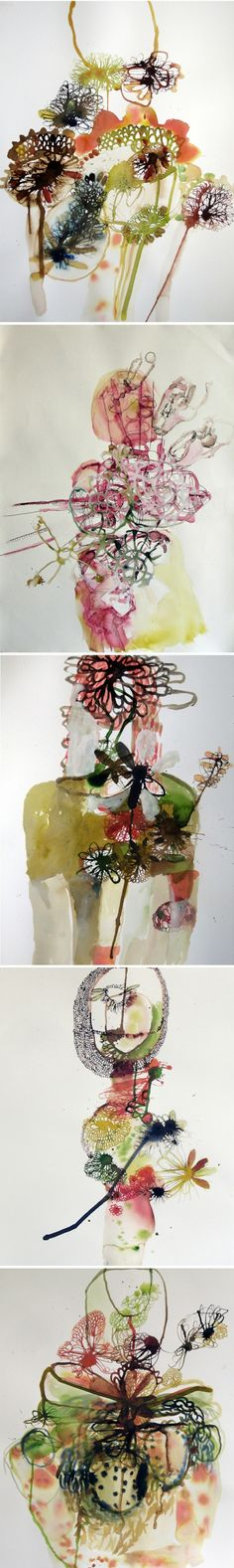 Beautiful abstract watercolour flowers by Elizabeth Terhune via Jealous Curator