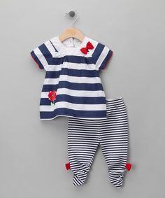 Take a look at this White & Navy Stripe Top & Legging Set -  Infant  by Pitter Patter on #zulily today!