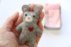 wee MOUSE DOLL in TIN house Doll Tin Felt Mouse by DOLITTLECRAFTS