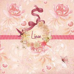 Geboortekaartje Lieve www.hetuilennestje.nl Romantisch, roze, strikje, vogel, vlinder, bloemen.