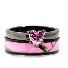 Heart Pink CAMO Black WEDDING RINGS Engagement SET Sterling Silver & Titanium CZ