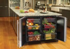 U Line 3036RR 36 Inch Undercounter All-Refrigerator with 6.8 cu. ft. Capacity, 6 Removable Drawer Bins, Dual Zone Convection Cooling, LED Lighting and Gallon Storage