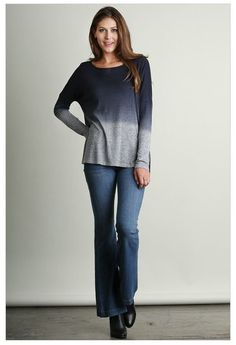 What A Stunner Midnight Navy Blue Ombre Wideneck Long Sleeve Top | Ledyz Fashions.com is an Online Style Destination for Must Have Fashions, Hottest Styles, and Unique Quality Clothing