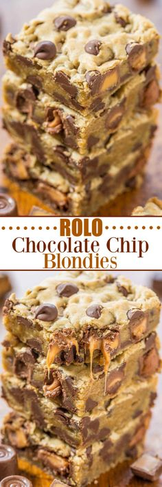 foodporn dessert Rolo Chocolate Chip Blondies - Gooey caramel, chocolate chips, and buttery soft dough! Easy, one-bowl, no-mixer recipe thats a guaranteed hit! Who can resist caramel and chocolate! Rolo Chocolate, Chocolate Chip Blondies, Chocolate Chips, Chocolate Muffins, Chocolate Desserts, Baking Recipes, Cookie Recipes, Dessert Recipes, Bar Recipes