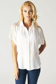 Crochet Joanna Shirt in Ivory