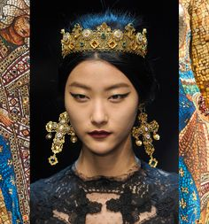 Inspired by Byzantine culture-Dolce & Gabbana, (Fall 2013 Collection). Domenico Dolce and Stefano Gabbana, inspired to create the collection (Fall 2013 Collection) from the famous Byzantine mosaics, paying tribute to the Byzantine splendor. Their creations are true works of art, as in the manufacture of clothing, imitated perfectly the art of mosaic, while on jewelery and accessories, they used the filigree (filigree) and the technique of enamel.