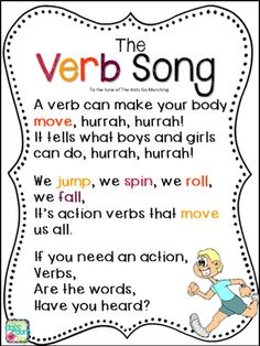 Confessions of a Teacher: I Sing Cheesy Songs- Part 1 - The Classroom Key If you're looking for some Primary Teaching Resources for your school, look no further than The Verb Song! Do you sing cheesy songs to your students to assist in their learning? 2nd Grade Ela, 1st Grade Writing, First Grade Reading, First Grade Classroom, Verb Activities For First Grade, First Grade Songs, Songs For The Classroom, Grammar Activities, 2nd Grade Grammar