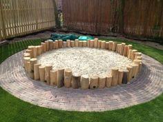 dit gaat de zandbak worden holzstamm this is going to be the sandbox # Sandboxes holzsta Kids Outdoor Play, Outdoor Play Spaces, Natural Playground, Backyard Playground, Natural Play Spaces, Kids Sandbox, Sand Pit, Outdoor Classroom, Play Houses