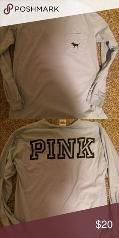 VS Pink Long-Sleeve Tee Size XS. Only worn one time. Baby blue. PINK Victoria's Secret Tops Tees - Long Sleeve