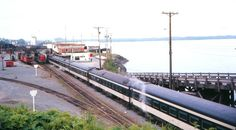 Geep-hauled CN passenger train at Prince Rupert, BC in 1972. Reformatted Ebay scan.