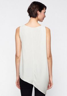 EILEEN FISHER BLACK CHIFFON ASYMMETRIC TOP